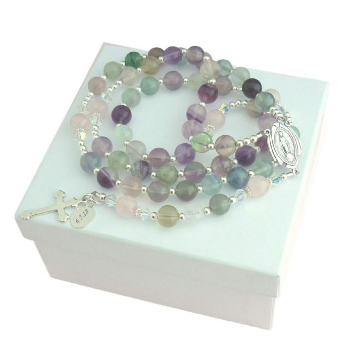 Personalised Rosary Fluorite & Quartz | Heavens Blessings